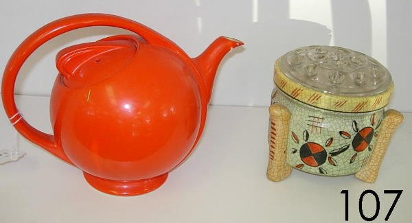 60107: HALL POTTERY TEAPOT + JAPAN PLANTER W FLOWER FRO