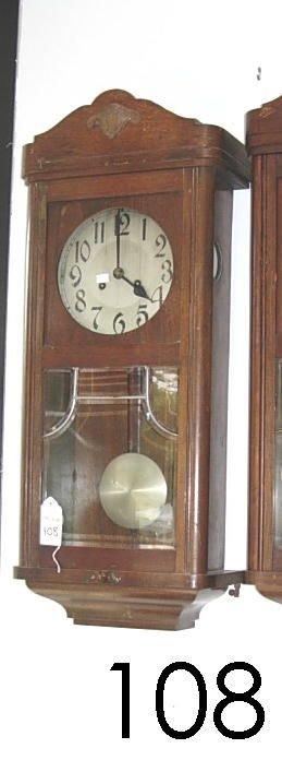 60108: ANTIQUE PENDULUM WALL CLOCK CARVED  WALNUT