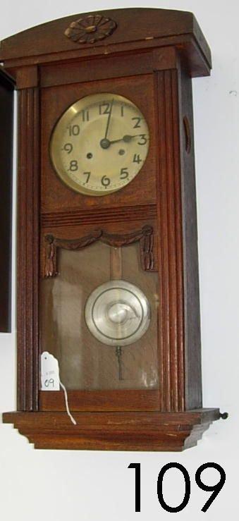 60109: ANTIQUE PENDULUM WALL CLOCK WALNUT