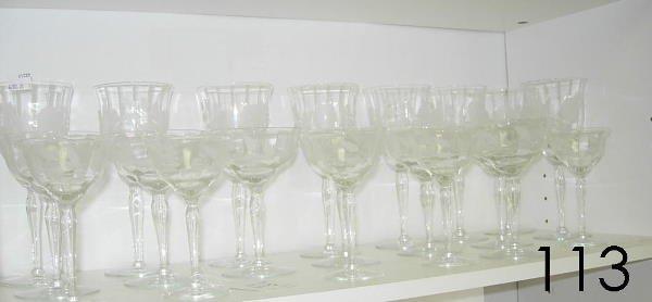 60113: ANTIQUE CUT GLASS LOT STEM WINE + CHAMPAGNE