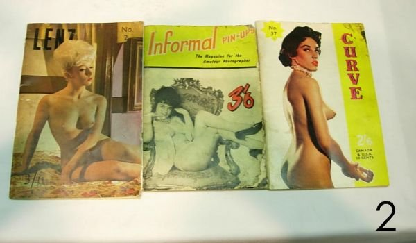 """602: """"VINTAGE RISQUE NUDE PIN UP BOOK LOT OF 3  LENZ C"""