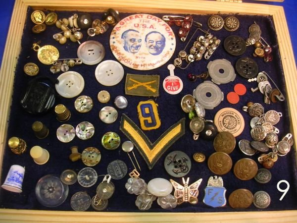 609: ANTIQUE BUTTON LOT MILITARY MOTHER OF PEARL CAMPAI
