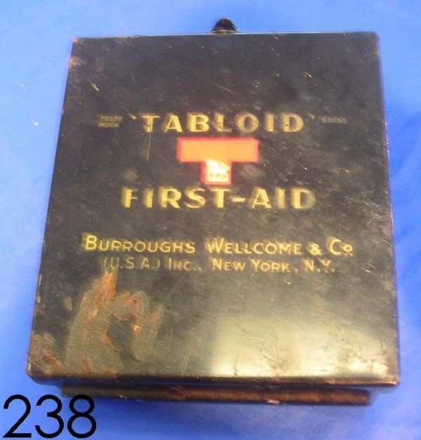 60238: WWII TABLOID FIRST AID KIT BY BURROUGHS WELLCOME