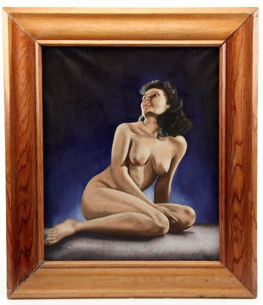 ORIGINAL W KERN SIGNED NUDE OIL PAITING DATED 1946