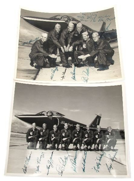 1957 SIGNED U S NAVY BLUE ANGELS PHOTO LOT OF TWO