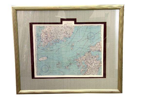 WW2 SILK FLYERS MAP FRAMED NAGASAKI JAPAN