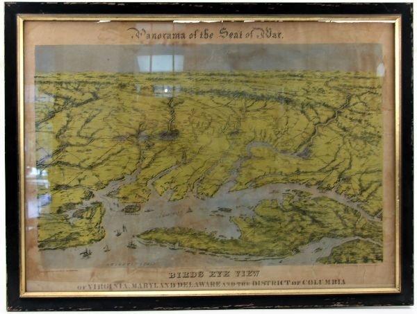 CIVIL WAR ERA BIRDS EYE VIEW MAP-VIRGINIA DELAWARE