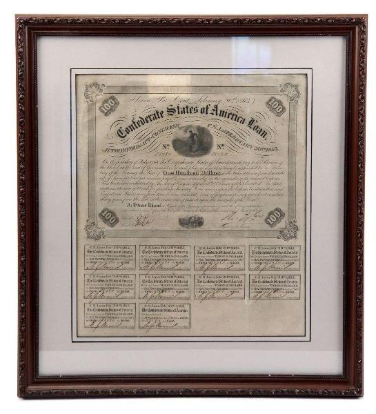 CONFEDERATE STATES UNCUT BOND SHEET 1861