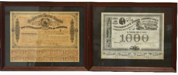 PAIR OF FRAMED CONFEDERATE BOND SHEETS
