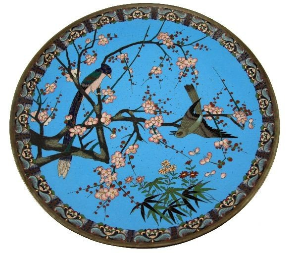 LARGE MEIJI PERIOD JAPANESE CLOISONNE PLATTER