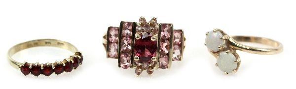 LADIES 14K RUBELLITE TOURMALINE & OPAL RING LOT