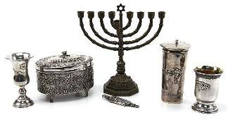LOT OF STERLING SILVER CEREMONIAL JUDAICA PIECES