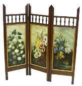 MAHOGANY VICTORIAN 3 PAINTED CANVAS PANEL SCREEN