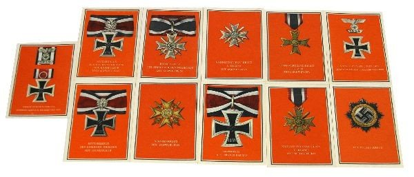 WAR MEDALS OF THE GERMAN REICH POSTCARD LOT OF 11