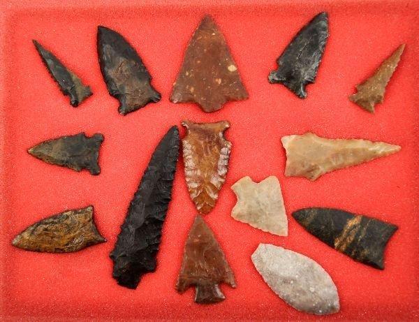 FRAME OF 14 PALEO & ARCHAIC FLORIDA ARROWHEADS