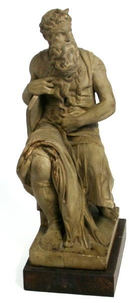 CAST MICHELANGELO'S SEATED MOSES W/ HORNS STATUE