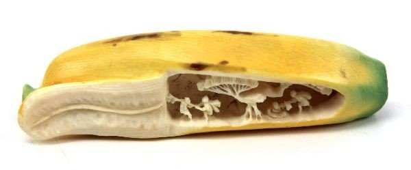 JAPANESE STAINED CARVED IVORY FIGURL BANANA