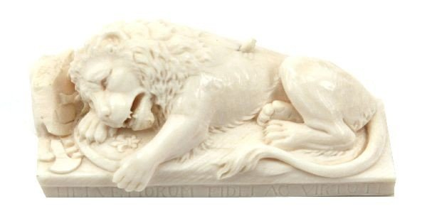 LION OF LUCERN FINELY CARVED FROM IVORY