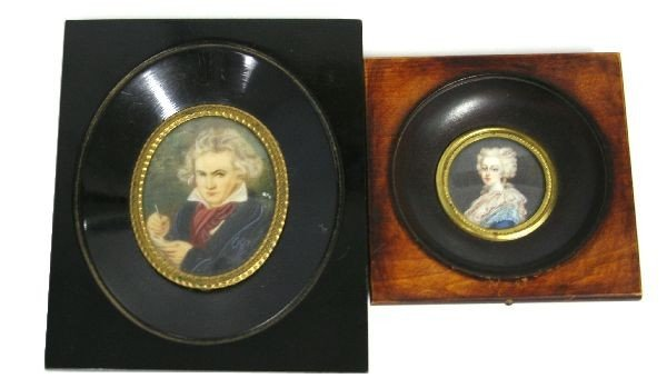 PAIR OF HAND PAINTED PORTRAITS ON IVORY