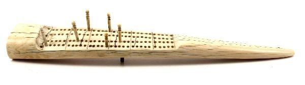 WALRUS TUSK IVORY HAND MADE ANTIQUE CRIBBAGE BOARD