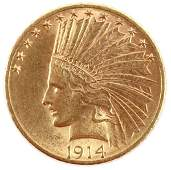 UNGRADED US 1914 D $10 GOLD INDIAN HEAD EAGLE COIN
