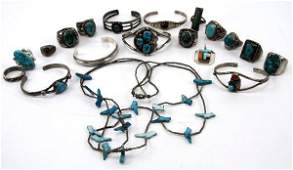 LOT OF NAVAJO STERLING SILVER TURQUOISE JEWELRY