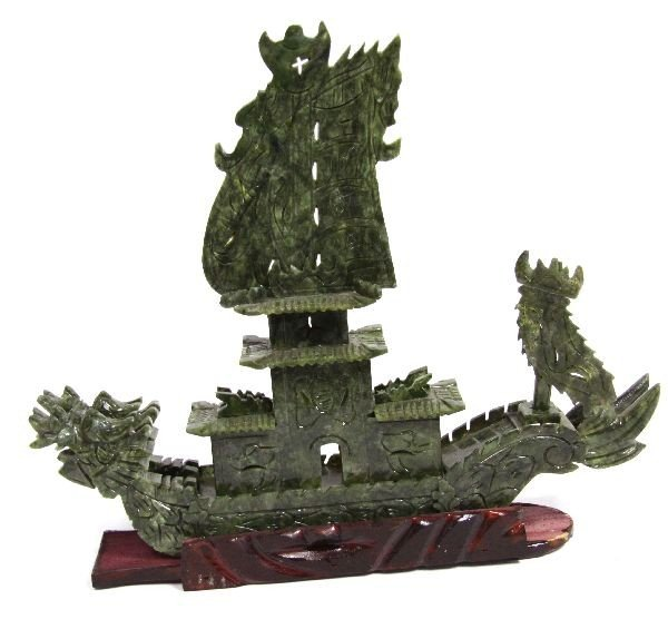 CHINESE CARVED GREEN HARDSTONE DRAGON SHIP