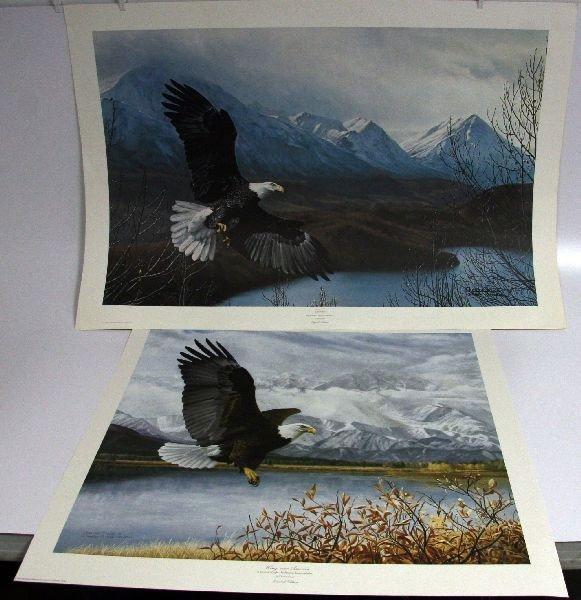 2 CHARLES FRACE SIGNED LITHOGRAPHS OF BALD EAGLES