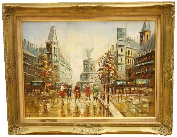 ORIGINAL OIL ON CANVAS CITY PAINTING BY FREDERIC