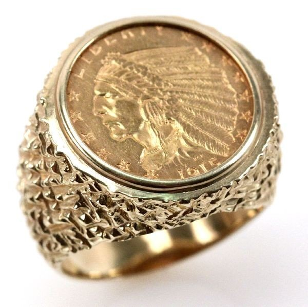 1915 US GOLD 2.5 DOLLAR INDIAN HEAD COIN RING