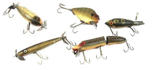 5 VINTAGE WOODEN & ALUMINUM FISHING LURES HEDDON