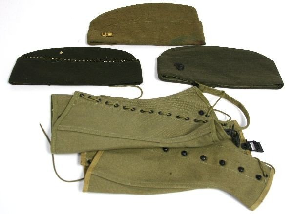 WW2 WW2 AND LATER MILITARY CAP LOT & LEGGINGS