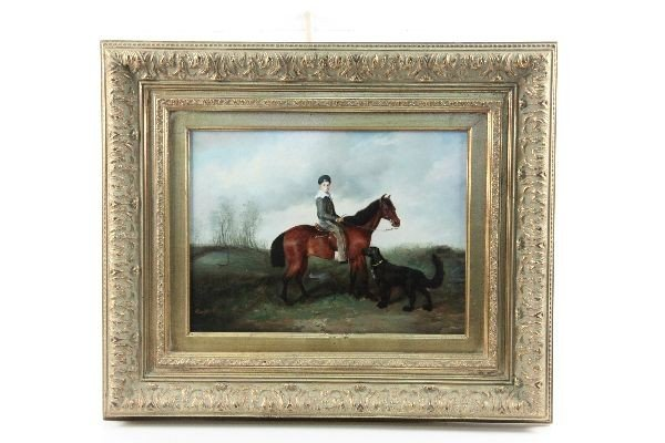 20TH CENTURY OIL PAINTING HORSEBACK RIDER AND DOG