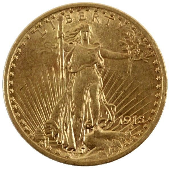 1915 GOLD ST GAUDENS DOUBLE EAGLE $20 COIN