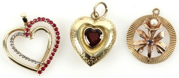 LOT OF LADIES 14K GOLD PENDANTS WITH GEMSTONES
