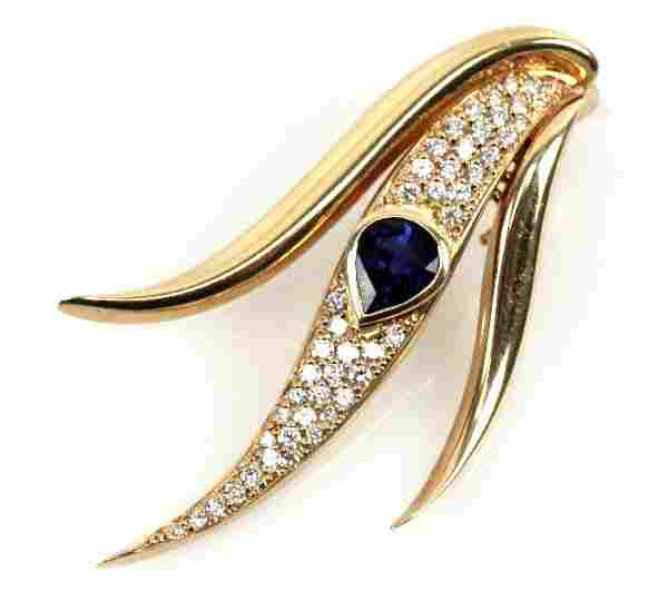 LADIES 14K SAPPHIRE AND DIAMOND PIN