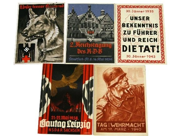 5 RARE WWII THIRD REICH PROPAGANDA POSTCARDS