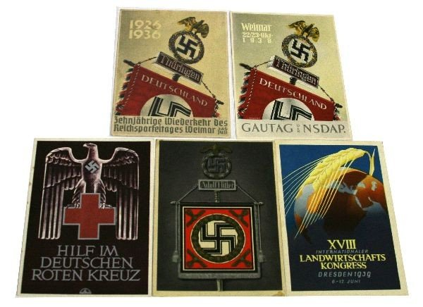 5 WWII THIRD REICH POSTCARDS SCARCE GROUPING