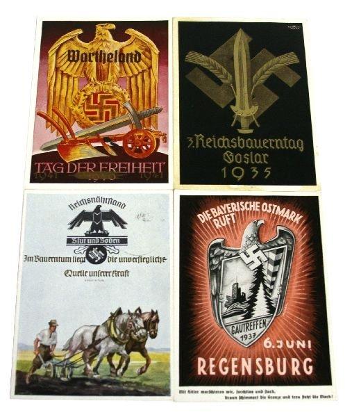 WWII GERMAN PROPAGANDA POSTCARD LOT OF 4