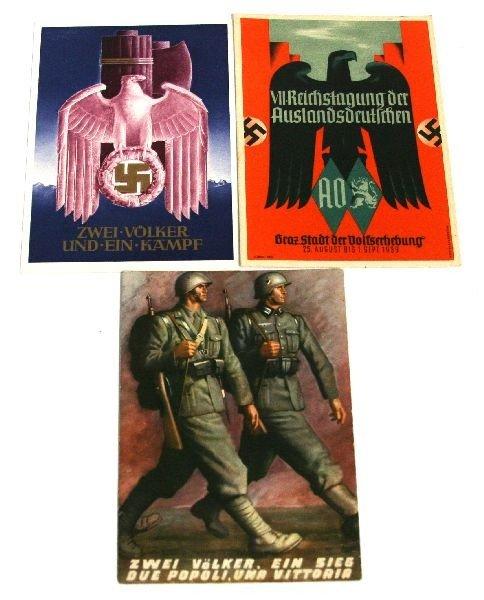 WWII GERMAN FASCIST PROPAGANDA POSTCARD LOT OF 3