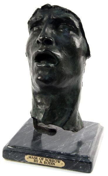 """MASK OF SORROW"" BRONZE SCULPTURE BY RODIN"