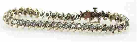 LADIES 14K YELLOW GOLD DIAMOND TENNIS BRACELET