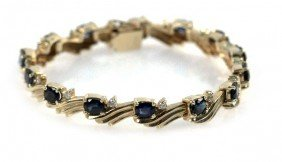 LADIES 14K GOLD SAPPHIRE AND DIAMOND BRACELET