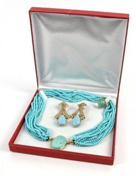 18K SLEEPING BEAUTY TURQUOISE JEWELRY SET