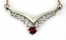 LADIES 14K YELLOW GOLD DIAMOND & RUBY NECKLACE