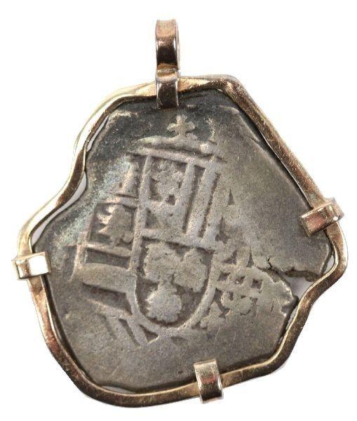 1715 FLEET 4 REALES COB IN 14K BEZEL WITH COA