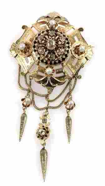 18K GOLD VICTORIAN BROOCH WITH DIAMONDS & PEARLS