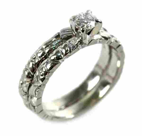LADIES 18K WHITE GOLD DIAMOND WEDDING SET