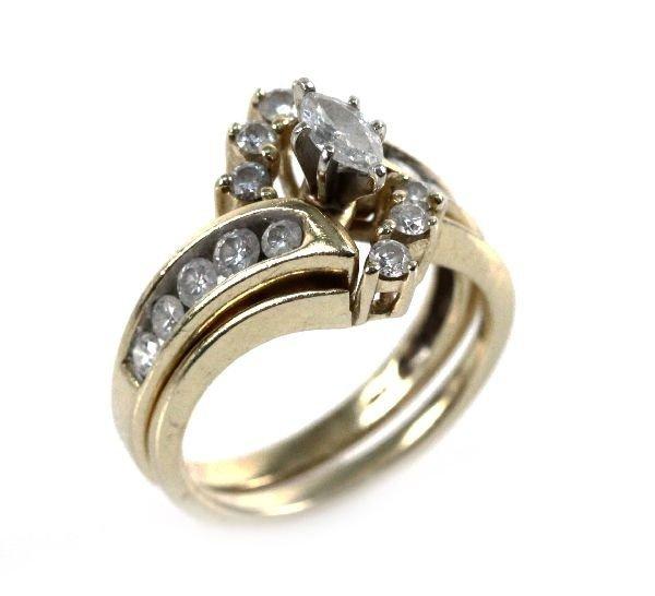 LADIES 14K YELLOW GOLD MARQUISE WEDDING SET 1 CTW