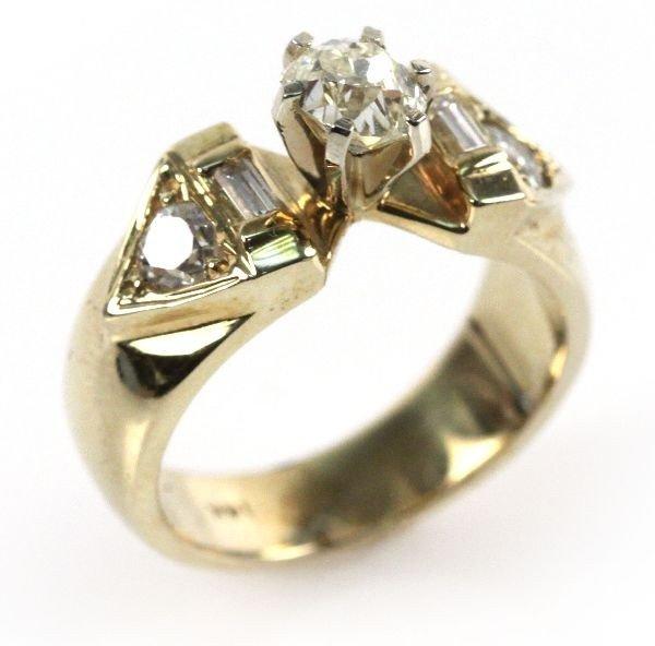 LADIES 14K GOLD MINE CUT DIAMOND RING 1 CTW